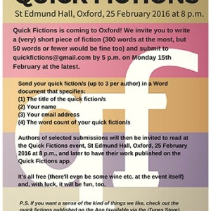 Quick Fictions flyer Oxford 2016